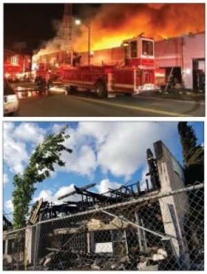 These photos of the terrible, mysterious fire that destroyed 10 businesses at 73rd and MacArthur in the wee hours of May 21 ran on the front page of the June Bay View. Fires tend to increase in neighborhoods like this one that are under heavy gentrification pressure. – Photo: Poor News Network