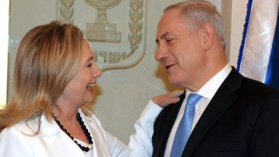 "This photo of Hillary Clinton meeting with Benjamin Netanyahu illustrates a 2014 story in Haaretz headlined, ""Israel's New Lawyer: Hillary Clinton."" – Photo: GPO, Haaretz"