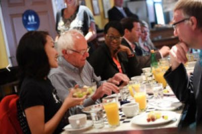 San Francisco Supervisor Jane Kim (left), a candidate for state senate, made a strong showing in the June 7 primary largely because of Bernie Sanders' endorsement. Here, she dines with Bernie and his powerful surrogate Nina Turner at a San Francisco bistro called The Butler & The Chef on June 2. – Photo: Matt McClain, Washington Post