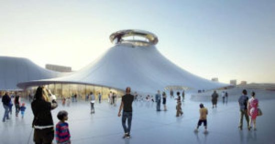 An architect's rendering of the Lucas Museum of Narrative Art