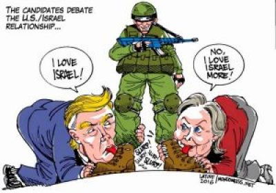 Trump, Hillary lick Israeli boots cartoon by Latuff