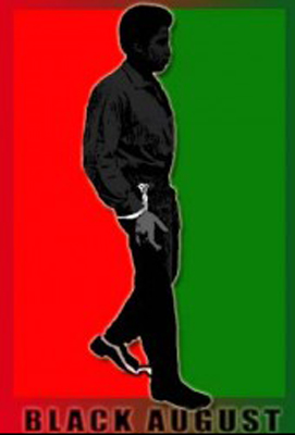 'Black August' George Jackson against red-green background