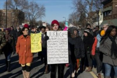 """This photo of a Black Lives Matter protest in south Minneapolis illustrates a story from AFSC that offers advice to White people taking part in #BlackLivesMatter protests; examples are """"Remember that you are there as an ally in solidarity – it's not about you … It is not your job to police or tone down black protesters who have a right to express anger … Don't lead chants … Anticipate that reporters may seek you for a comment out of their own unconscious racial bias … Don't hijack the message,"""" which is NOT """"All Lives Matter."""" – Fibonacci Blue, flickr"""