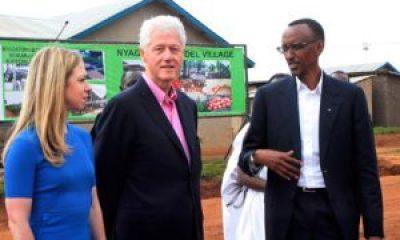 Chelsea and Bill Clinton and Paul Kagame tour Rwandan health clinics in July 2012. – Photo: Cyril Ndegeya, AP