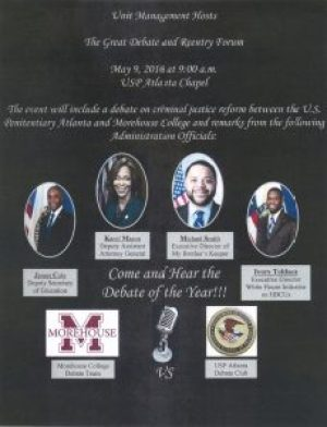 The Great Debate and Reentry Forum flier USP Atlanta 050916