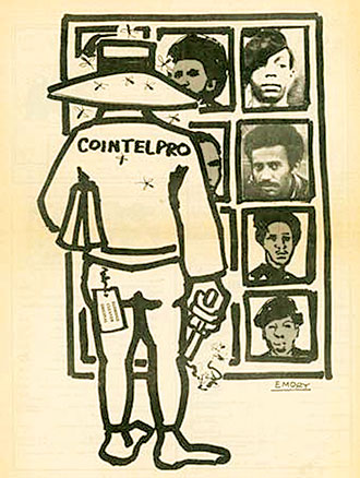 """""""The Impact of COINTELPRO"""" – Art: Black Panther Minister of Culture Emory Douglas, 1976"""