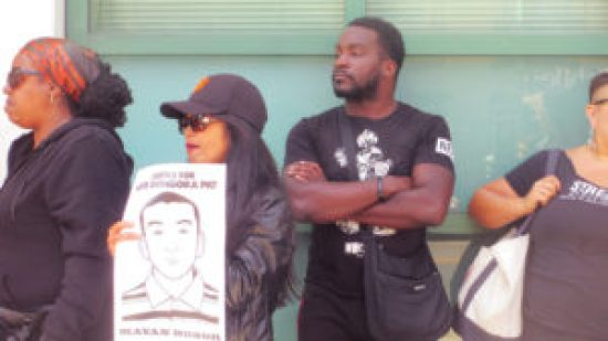 Advocates gather at the Mission Police Station to call for a 90-day Moratorium on Police Use of Force. – Photos: Poor News Network