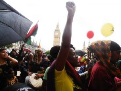 "Thousands say ""Yes for Reparations!"" at Parliament Square."