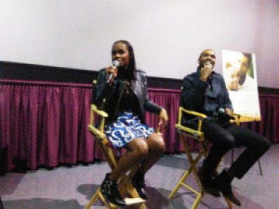 """Tika Sumpter and Parker Sawyers, as Michelle and Barack, talk following a recent press screening of """"Southside with You."""" – Photo: Wanda Sabir"""