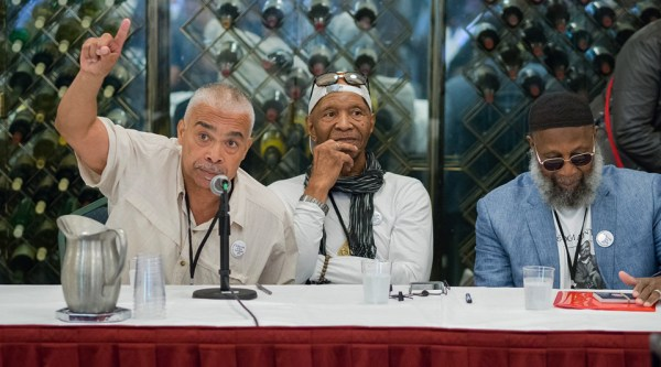 Cisco Torres, Dr. Robert King, and Sekou Odinga share their experiences of incarceration during a panel discussion on Sept. 9, 2016, in Oakland. – Photo: Scott Braley