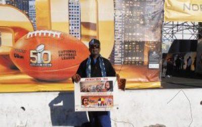 Outside Levi Stadium in Santa Clara on Feb. 7, 2016, legendary activist Jahahara Alkebulan-Maat greets Superbowl fans with demands to free Leonard Peltier and Mumia Abu-Jamal.