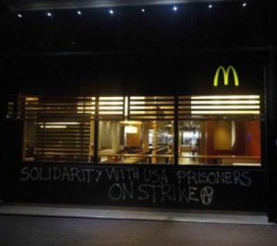 When Free Alabama Movement began planning to end prison slavery a couple of years ago, their emphasis was on shaming McDonald's, which uses prison slave labor extensively. This graffiti appeared in Barcelona, Spain.