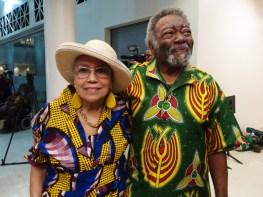 At the Black Arts Movement conference in New Orleans, Dr. Doris Derby, scholar, filmmaker, photographer, teacher, co-founder of Free Southern Theatre, walks with Askia Muhammad Touré, poet, essayist and scholar, who taught history at SFSU with Dr. Nathan Hare in the first Africana Studies Program. – Photo: Wanda Sabir
