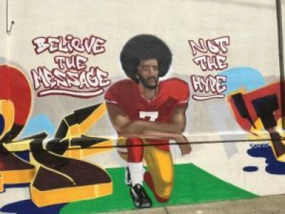 A mural appeared recently at Hudson and Newhall in Bayview Hunters Point in tribute to Kaepernick and his protest of the national anthem. – Photo: Meaghan M. Mitchell, Hoodline