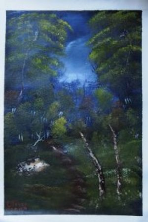 """""""Forest"""" – Art: Anthony C. Oliver, P.O. Box H-79800, 1-EB-109, San Quentin State Prison, San Quentin CA 94974. Anthony would love to have a penpal of any age and gender who likes art."""