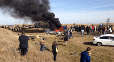 Native water protectors blocked the path of the pipeline and were met with militarized police force from five states.