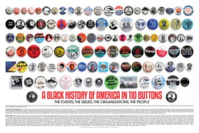 """A Black History of America in 110 Buttons"" costs only $14.99. If you can use 10 or more, the cost drops to $7 each. Go to http://www.blackhistorybuttons.com/ or email info@blackhistorybuttons.com."