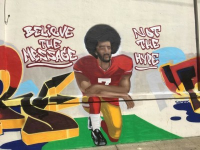 "This powerful mural, which was painted right where it belongs, in Hunters Point, where everybody loves Colin Kaepernick, is yet another victim of gentrification. Neighbors – no doubt gentrifiers – complained to the City that it was ""graffiti and not art"" and the City issued a citation to the building owner, who chose to ""whitewash"" it literally, with white paint. Good reporting on Hoodline. – Photo and stories: Meaghan M. Mitchell, Hoodline"