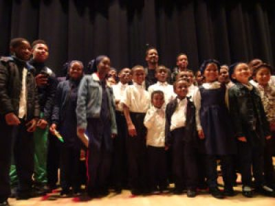 Children from a Muslim school were excited to pose with Nate Parker. – Photo: Wanda Sabir