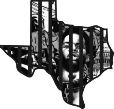 """The brilliant author and artist Kevin """"Rashid"""" Johnson was a prisoner in Virginia when he drew what became the logo for the California Hunger Strikes. As his fame spread, the fury of that prison system intensified, a guard at one point pulling out the dreadlocks from nearly a third of his head, and he was transferred to Oregon. When officials there sent him to Texas, like a terrorist sent for rendition to be tortured, his publisher at rashidmod.com set one of his drawings in a """"Texas frame."""""""