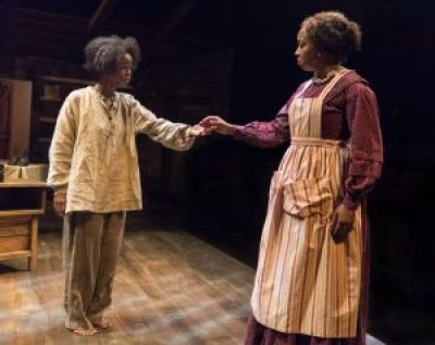 "Roxie (actress Jamella Cross), left, is an escaped slave looking for sanctuary and freed woman Clarissa (Dezi Soléy) in the play, ""Safe House."""