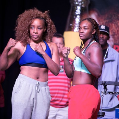 """The Heavy Hitting Diva"" and eight-time national champion Franchon Crews (left) faced two-time Olympic gold medalist Claressa Shields, both in their professional debuts. The bout is the second in history to grace a ROC Nation fight card. The historic first time, Raquel Miller (2-0, 1 KO) defeated Sara Flores (0-1) on the Ward vs. Brand undercard. – Photo: Malaika Kambon"
