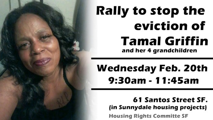 Rally-to-stop-the-eviction-of-Tamal-Griffin-022019-poster, Join eviction blockade to save disabled grandmother and grandchildren's home, Local News & Views