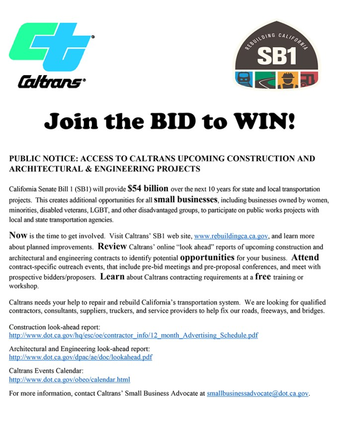 Disadvantaged contractors invited to bid on Caltrans SB1 projects