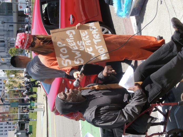 Stop-sweeping-us-we-are-not-trash'-Leroy-Moore-Tiny-protest-SF-policy-0519-by-Jahahara, Bring our courageous elders home, now!, Culture Currents