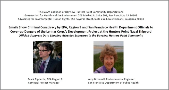 SLAM-Coalition-reveals-email-EPA-SFDPH-conspiracy-to-cover-up-Lennars-Hunters-Point-Shipyard-asbestos-exposure-exceedences, Power concedes nothing without a demand: Community demands reinstatement of Hunters Point Shipyard RAB, Local News & Views