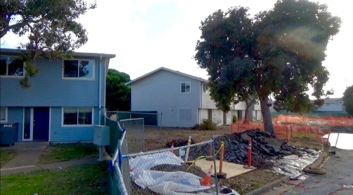Treasure-Island-1238-Northpoint-across-fence-from-radioactive-ponds-by-Carol-Harvey, Navy removes an estimated 163+ new radiation deposits from two toxic dumps and dangerously radioactive soil from under occupied Treasure Island home, Local News & Views