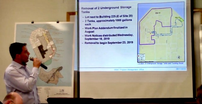 Treasure-Island-Site-12-proj-mgr-Leo-Larsen-presents-Navy-map-of-2-1000-gallon-petroleum-tanks-extraction-site, Navy removes an estimated 163+ new radiation deposits from two toxic dumps and dangerously radioactive soil from under occupied Treasure Island home, Local News & Views