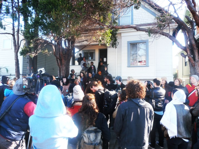 Crowd-defends-Moms-4-Housing-West-Oakland-home-occupation-by-Jahahara, New season, building movements, more victories on the way!, Culture Currents