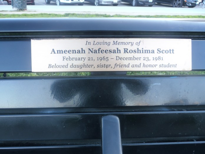 Lake-Merritt-bench-honoring-Ameenah-Nafeesa-Roshima-Scott-murdered-at-16-in-1981-by-Jahahara, Support the Bay View and our righteous movements!, Culture Currents