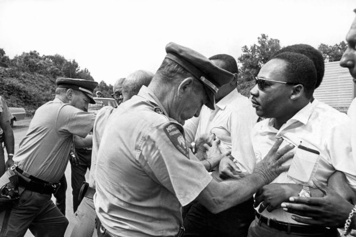 Police-push-Martin-Luther-King-Jr.-cy-Underwood-Archives, Give Dr. King the birthday present he wants: VOTE in Cali's March 3 primary, Culture Currents Featured