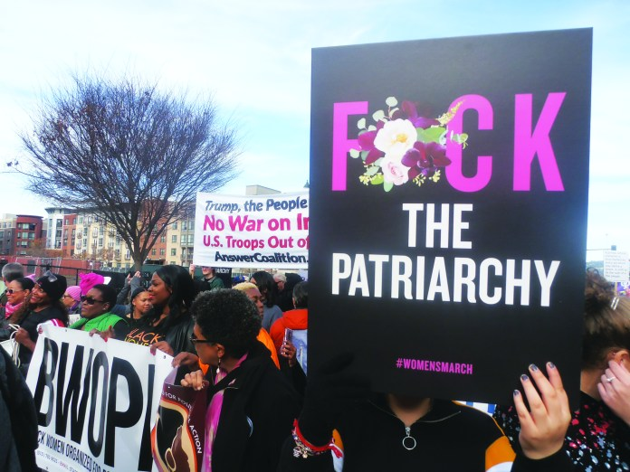 BWOPA-ANSWER-say-NO-WAR-and-F-the-PATRIARCHY-at-Womens-March-Oakland-0120-by-Jahahara, Claiming our African stories, victories and future!, Culture Currents