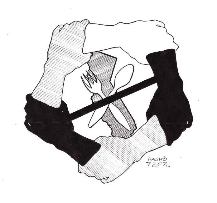 "This logo, created by the premiere prison artist, known as Rashid, was eagerly adopted by the California hunger strikers as the symbol of their sacrifice and strength in solidarity. – Art: Kevin ""Rashid"" Johnson, 264847, Pendleton Correctional Facility, G-20-2C, 4490 W. Reformatory Road, Pendleton, IN 46064"