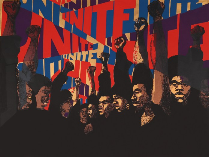 """Unite,"" 1971, by Barbara Jones-Hogu painting shows nine African American men raising the black power fist in front of the word UNITE repeated in a red white and blue graphic design pattern"