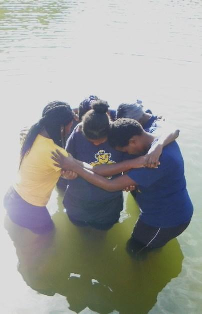 Destiny and girls praying
