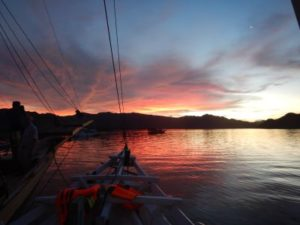 sunset over Komodo