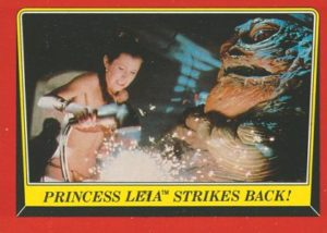 Princess Leia ™ Strikes Back! Inside JABBA THE HUTT'S SAIL BARGE, PRINCESS LEIA creates a diversion by immobilizing JABBA'S loudspeaker system. © & TM 2016 LUCASFILM LTD. © 2016 The Topps Company Inc. All rights reserved