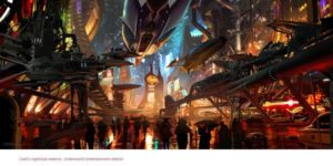 Ryan Church Coruscant underworld entertainment corridor Concept painting for Star Wars: 1313 project Copyright © 2013 Lucasfilm Ltd. and TM.