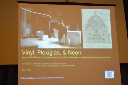 The Society of Architectural Historians brought Fr. McNamee and Denise Scott Brown back to our church in 2015 to talk about the long-ago Venturi project.