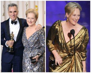 Quando Maryl Streep entrou no palco eu sabia, eu já tinha visto isso antes. O modelo é MUITO parecido com o dourado que ela usou no ano passado, só mudou a cor. Zzzzz...