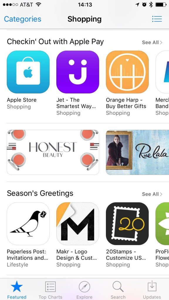 Image of App Store Shopping section showing apps that use Apply Pay