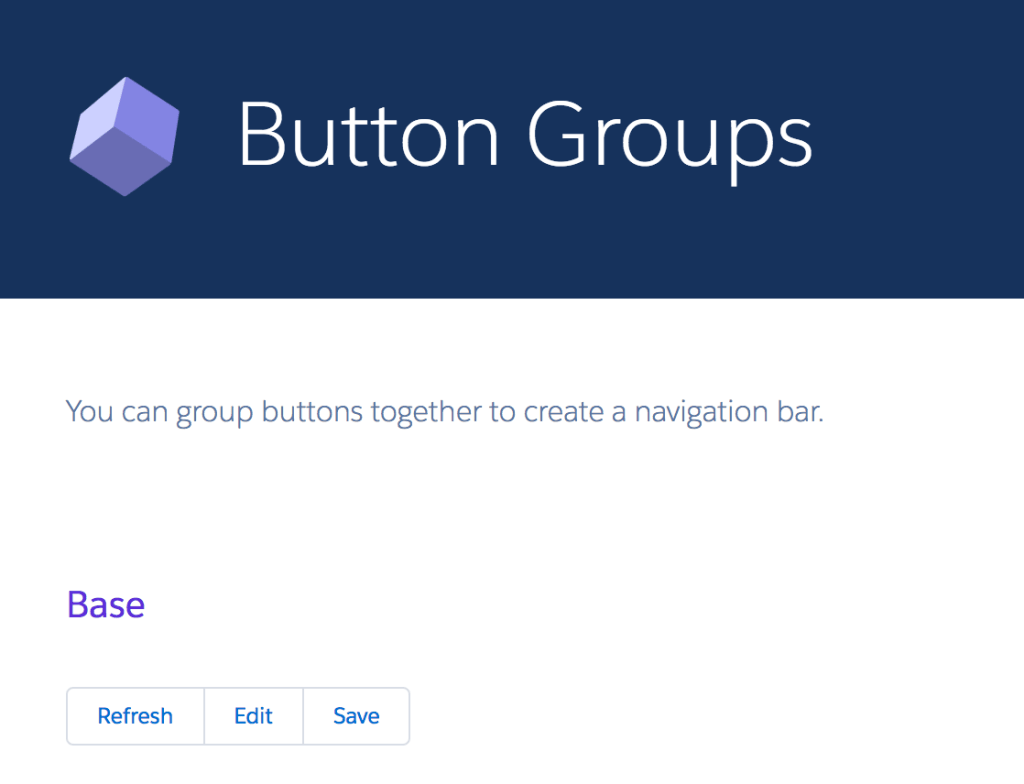 A button group from Salesforce's Lightning Design System.