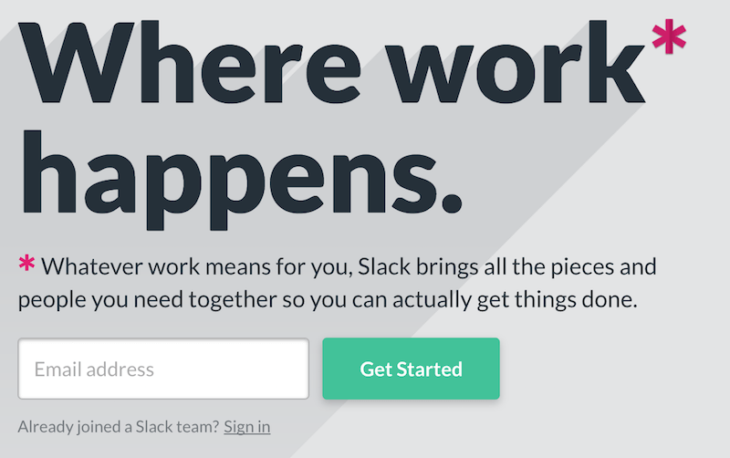 Slack's one form-field email sign up