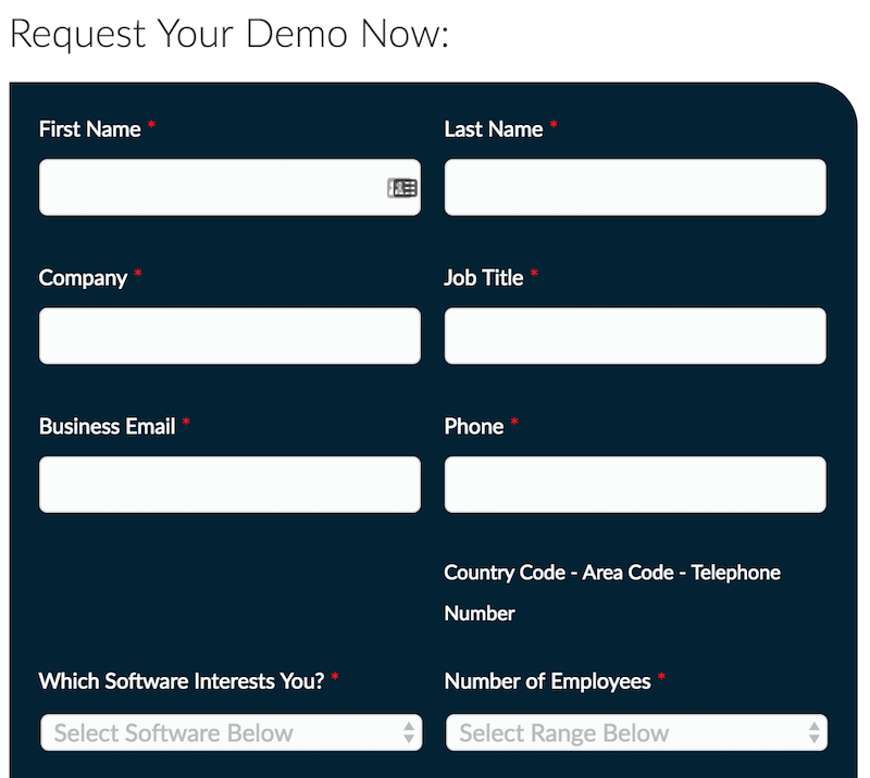 Example of a form to request a demo