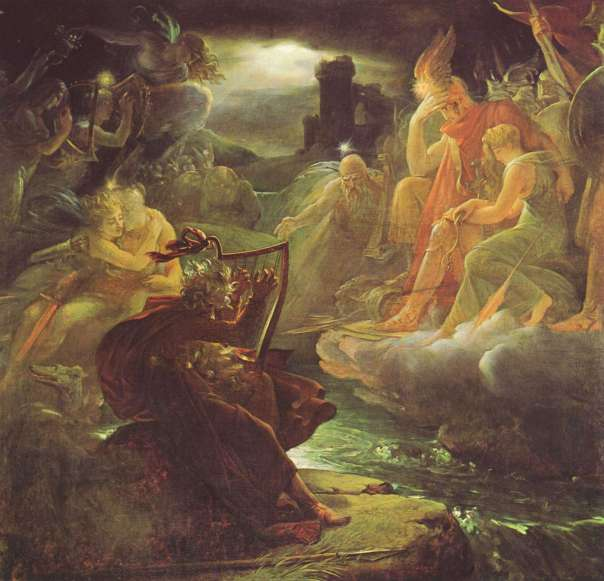 Ossian on the Bank of the Lora, Invoking the Gods to the Strains of a Harp by François Gérard