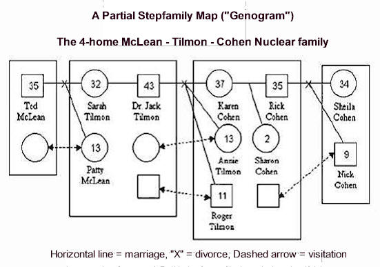 A Four Home Nuclear Stepfamily Genogram Map